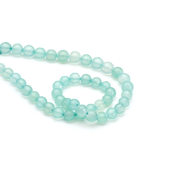 Aqua Blue Chalcedony Faceted Round Beads