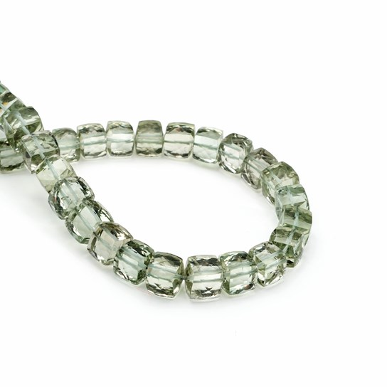 Green Amethyst Faceted Puffed Cube Beads, 5mm To 8mm