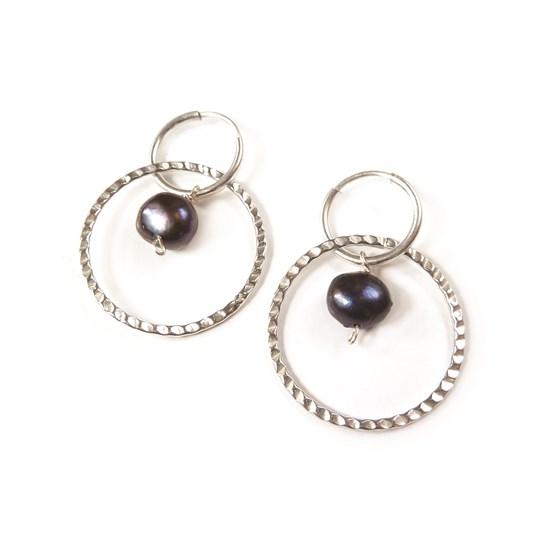 Peacock Pearl Hoop Earrings