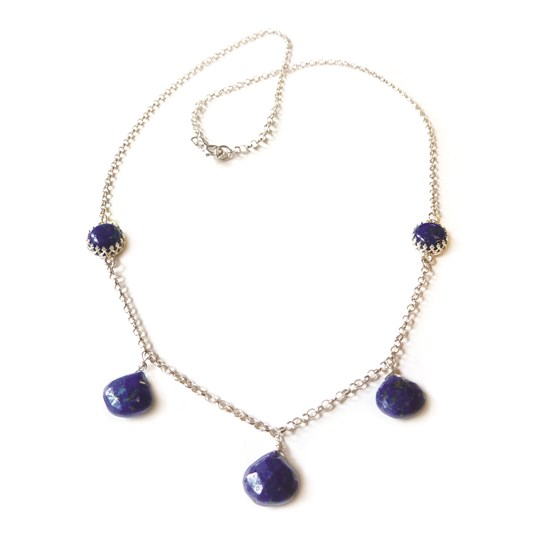 Lapis Teardrop Silver Necklace