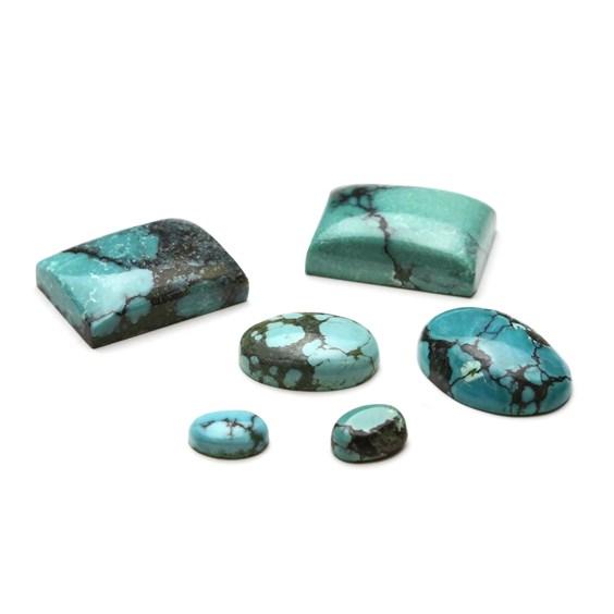 Tibetan Spiderweb Turquoise Cabochons