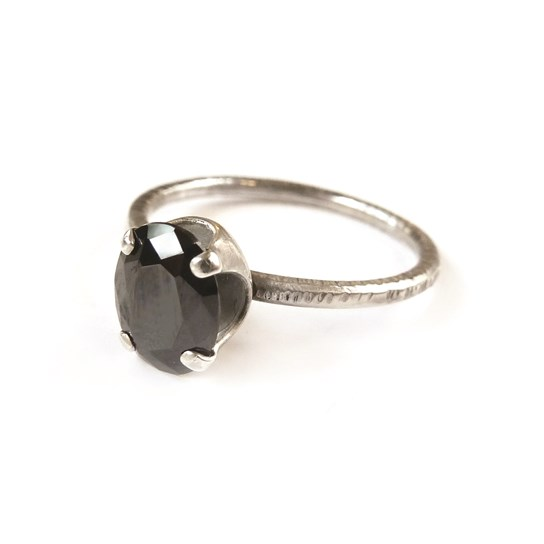 Black Cubic Zirconia Sterling Silver Ring