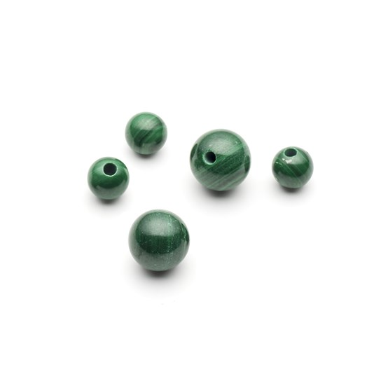 Malachite Round Half Drilled Beads