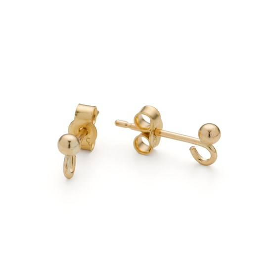 9ct Gold French Earstuds with Ball & Loop (Pair)