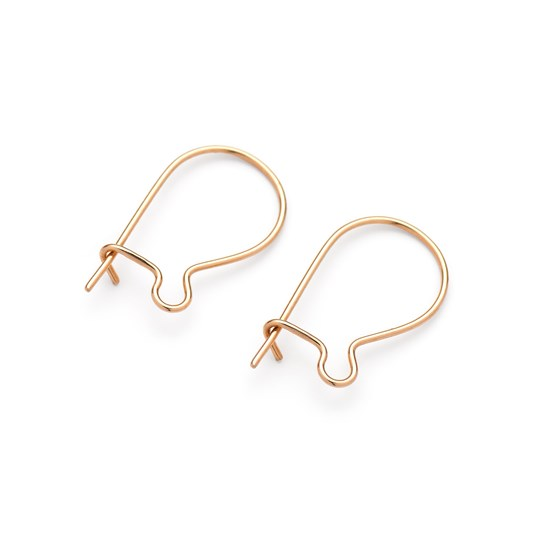 9ct Gold Kidney Wire with Safety Catch (Pair)