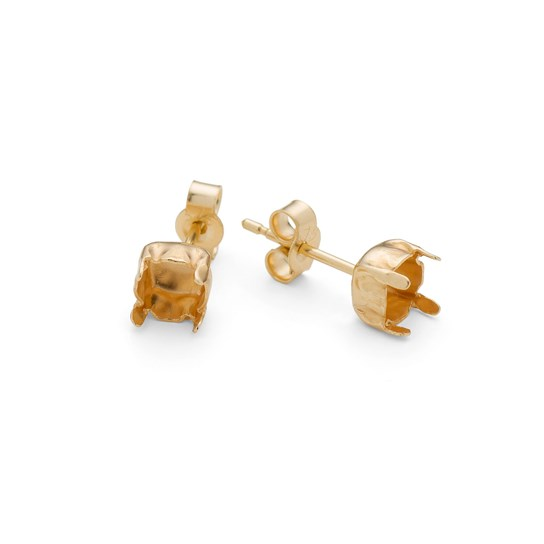 9ct Gold French Stud Earstud Settings For 5mm Round Faceted Stones (Pair)