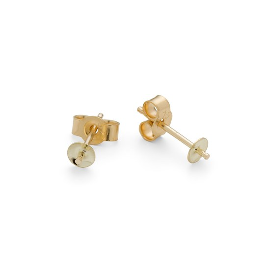 9ct Gold Earstud Settings for Half Drilled Beads (Pair)