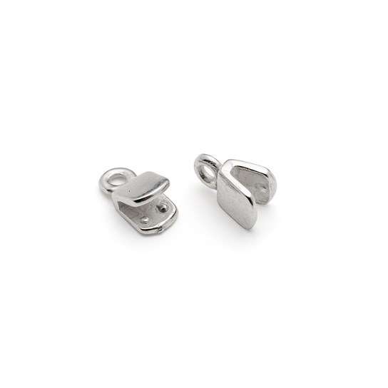 Silver Plated Pinch Style Cord Ends (Pair)