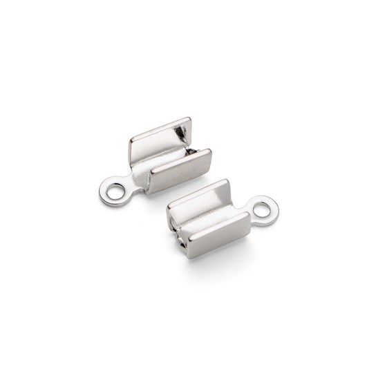 Silver Plated Box Style Cord Ends (Pack of 10 Pairs)
