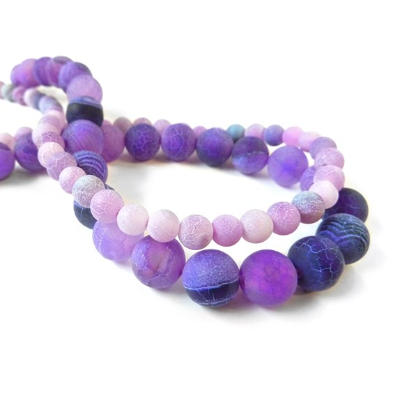 Lilac Frosted Agate Round Beads