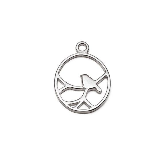 Sterling Silver Oval Nightingale Bird Pendant Charm