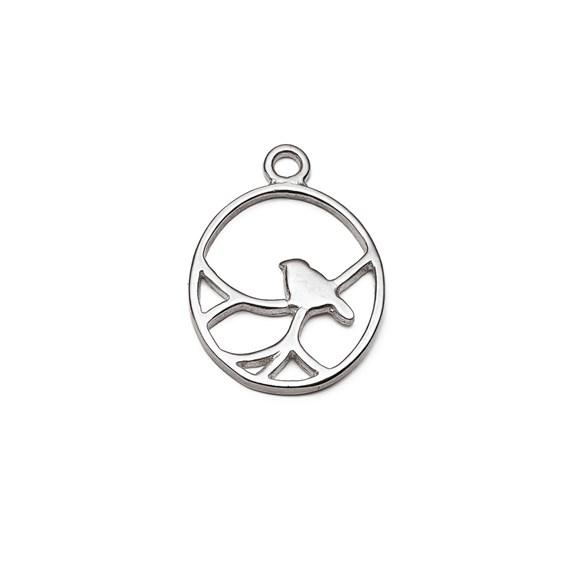 Sterling Silver Oval Nightingale Bird Pendant Charm