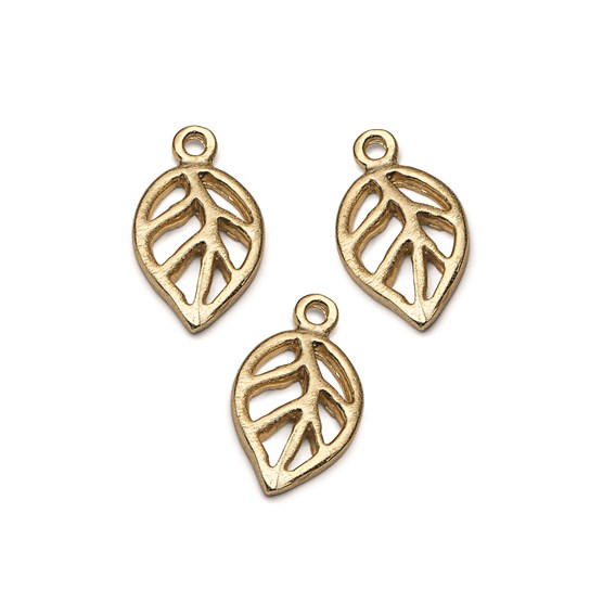 14ct Gold Vermeil Open Leaf Charm