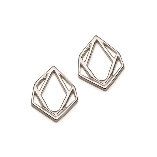Sterling Silver Small Geometric Diamond Pendant Charm