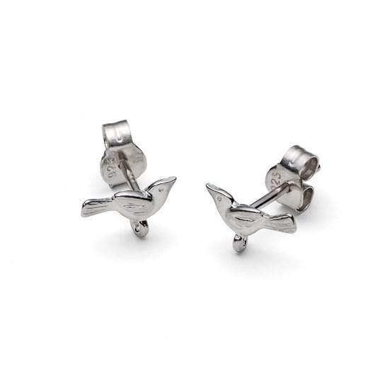 Sterling Silver Bird Earstud with Loop (Pair)