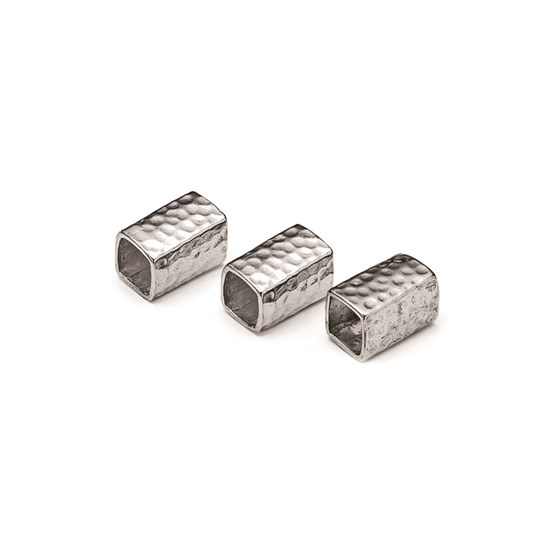 Sterling Silver Hammered Square Tube Bead, 9.5x6.5mm