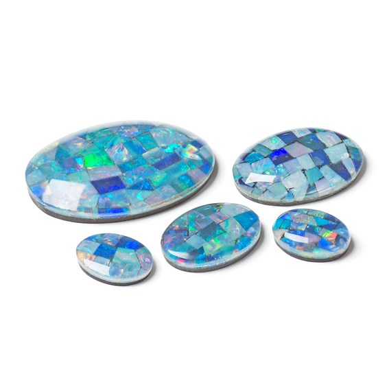 Opal Mosaic Cabochons, Approx 25x18mm Oval