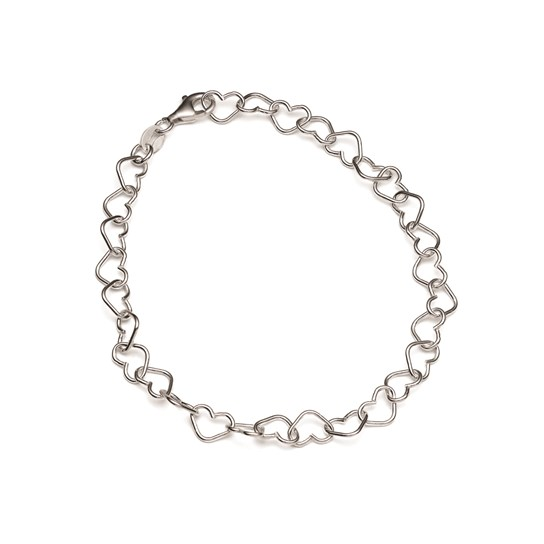 Sterling Silver Love Heart Chain, 19cm Bracelet