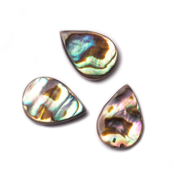 Paua Shell Head Drilled Flat Teardrop Beads, Approx 14x10mm