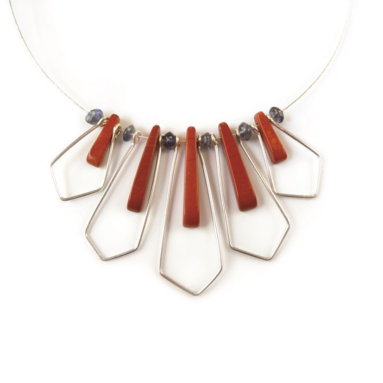 Red Jasper Geometric Necklace