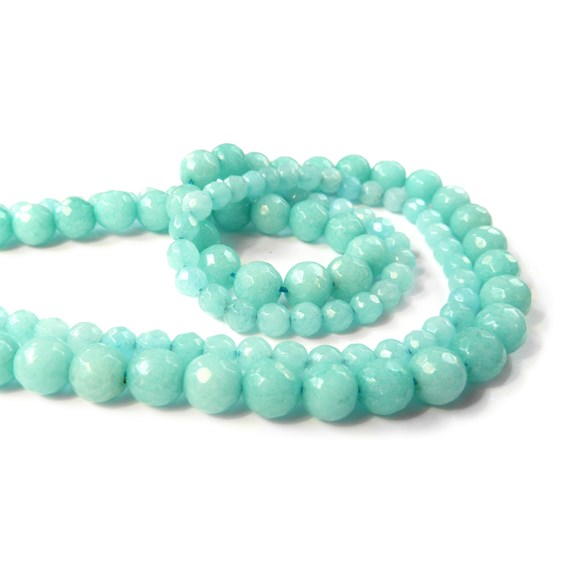 Amazonite Faceted Round Beads