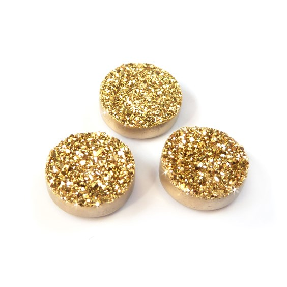 24ct Gold Flat Drusy Cabochons, Approx 8mm Round