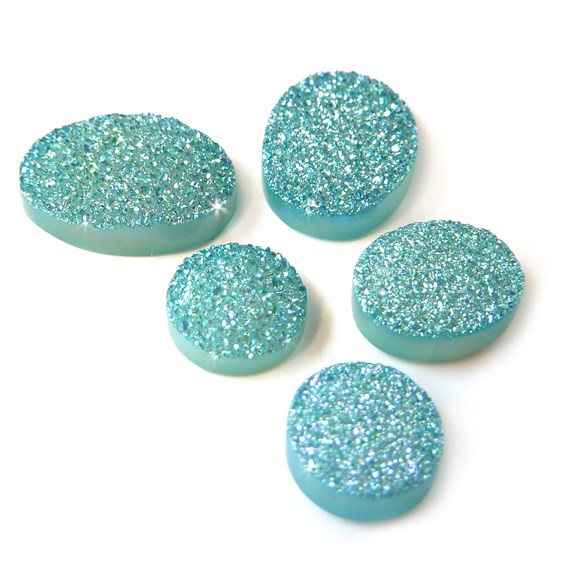 Turquoise Flat Drusy Cabochons