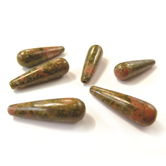 Unakite Top Drilled Teardrop Gemstone Bead, 20x6mm