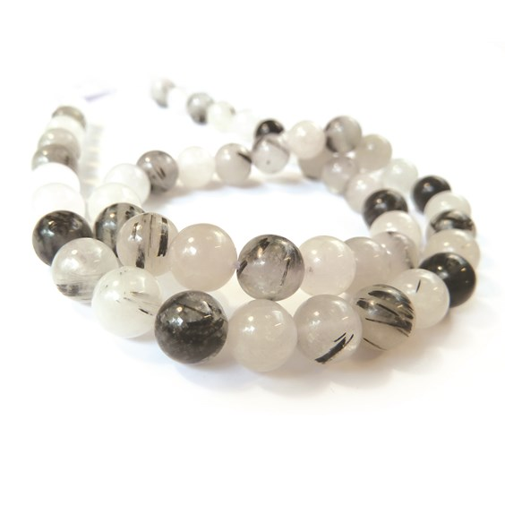 Black Tourmaline In Quartz Round Beads