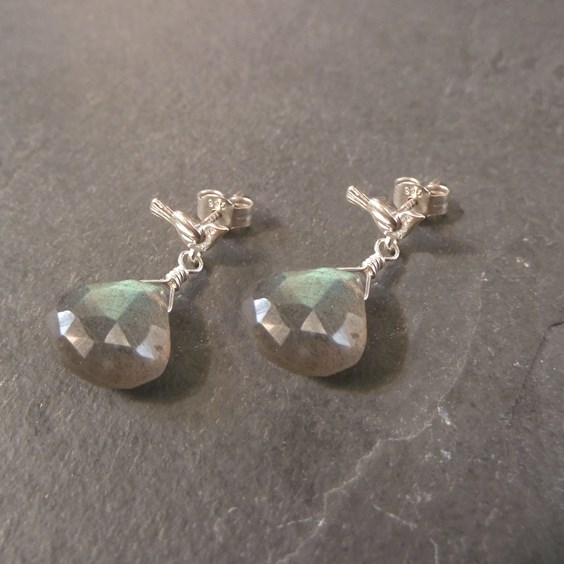 Labradorite Bird Stud Earrings