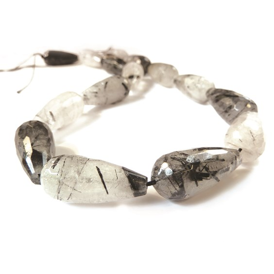 Black Tourmalinated Quartz Faceted Drop Beads, Approx 26x12mm