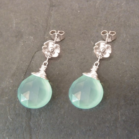 Sterling Silver Poppy Chalcedony Briolette Earrings