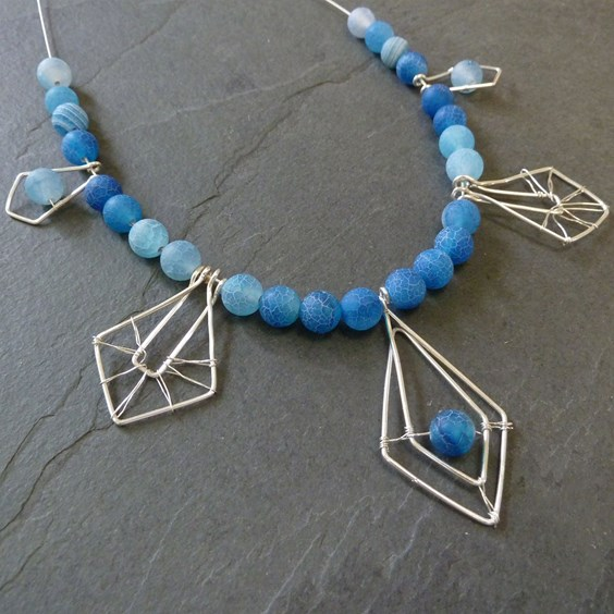 Ocean Agate Geometric Necklace