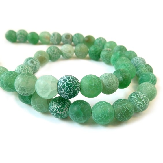 Sea Green Frosted Agate Round Beads, 8mm Round
