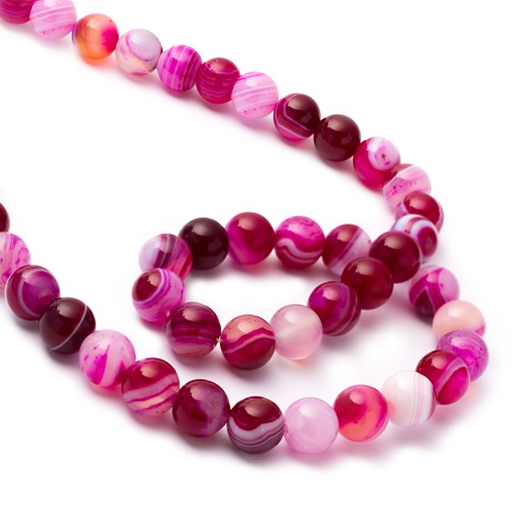 Fuchsia Pink Banded Agate Round Beads