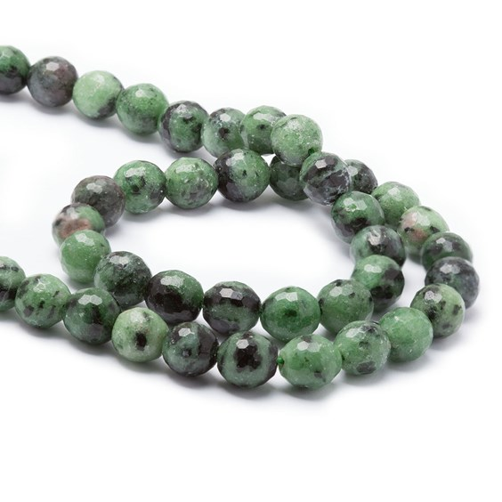 Ruby with Zoisite Faceted Round Beads