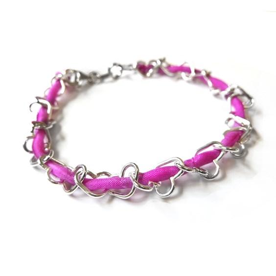 Fuchsia Heart Bracelet