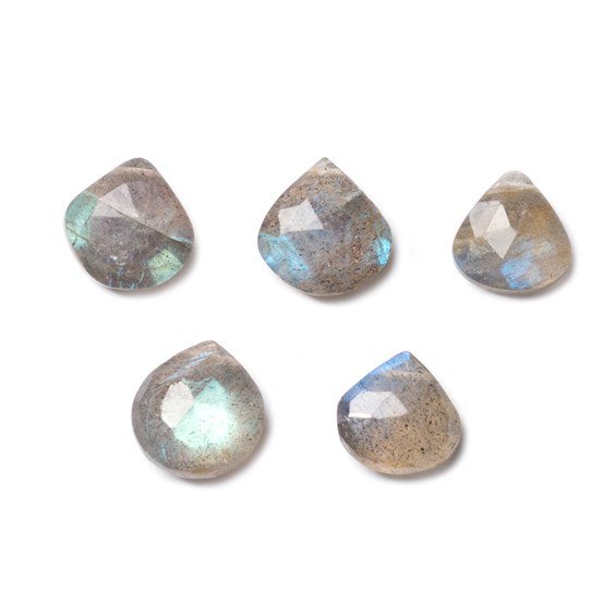 Labradorite Faceted Heart Briolette Beads, Approx 7-14mm