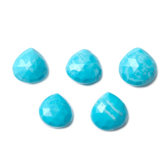 Turquoise Faceted Heart Briolette Beads, Approx 9-13mm