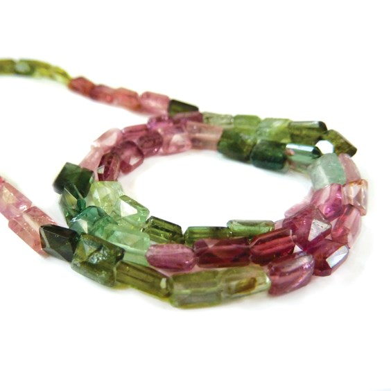Tourmaline Faceted Rectangluar Beads