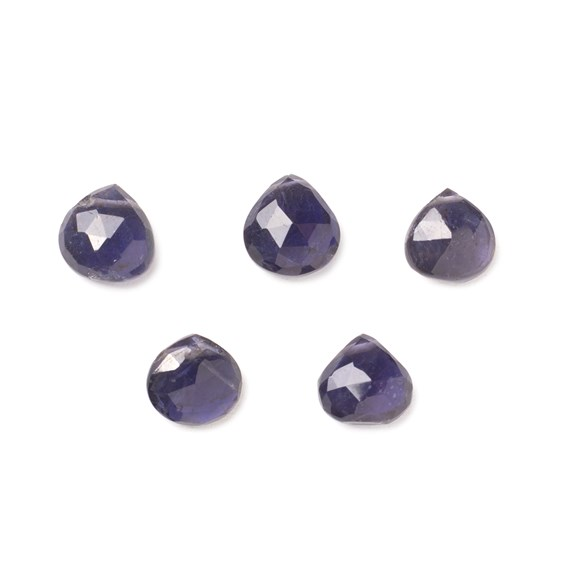 Iolite Faceted Heart Briolette Beads, Approx 6mm To 11mm