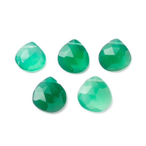 Green Onyx Faceted Heart Briolette Beads, Approx From 9mm To 11mm