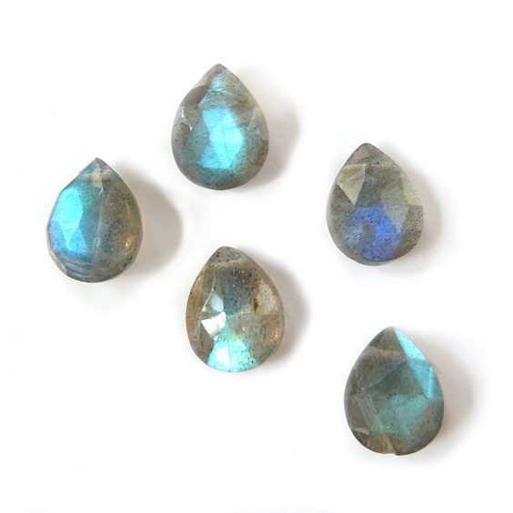 Labradorite Faceted Teardrop Briolette Beads, Approx 7x5mm to 10x8mm