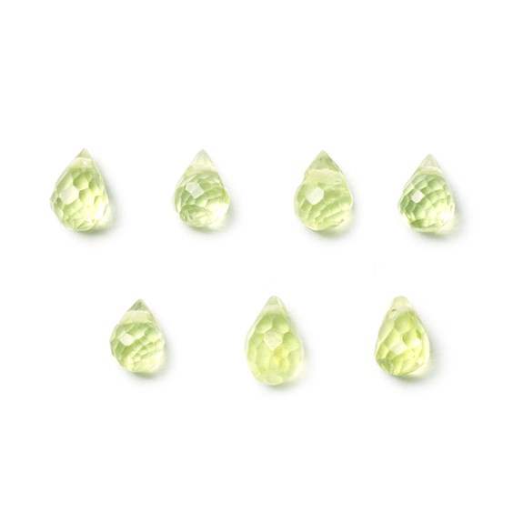 Peridot Faceted Drop Briolette Beads