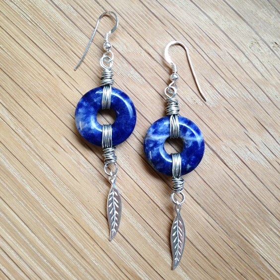 Sodalite Donut Leaf Drop Earrings