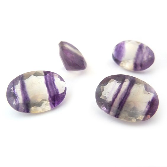 Purple Banded Fluorite 18x13mm Oval Faceted Stone