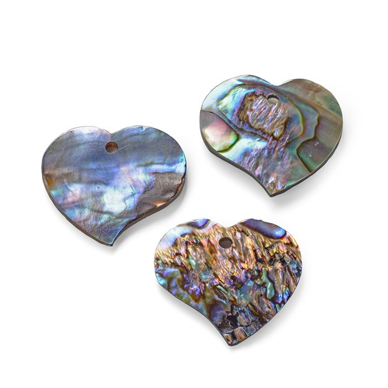 Paua Shell Heart Shape Charm, Approx 18-20mm
