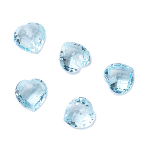 Top Drilled 8mm Checker Cut Faceted Sky Blue Topaz Hearts