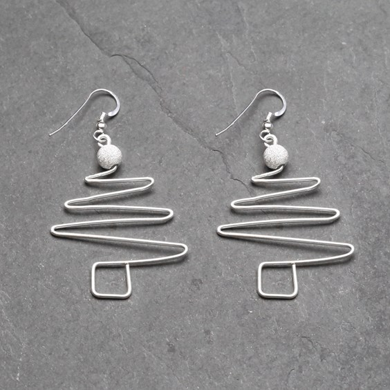 Wire Work Christmas Tree Earrings