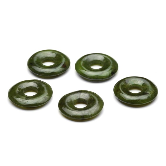 Nephrite Jade Gemstone Donuts, Approx 20mm